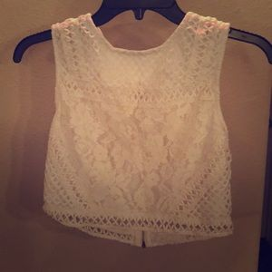 [Forever 21] lace white crop top
